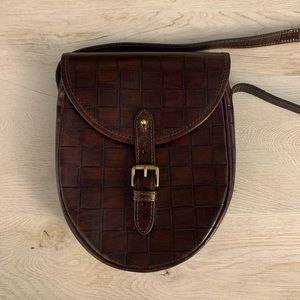Vintage Mulberry Saddle Bag Brown Embossed Leather